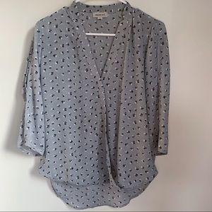 Smart Set polka dot & floral v-neck blouse